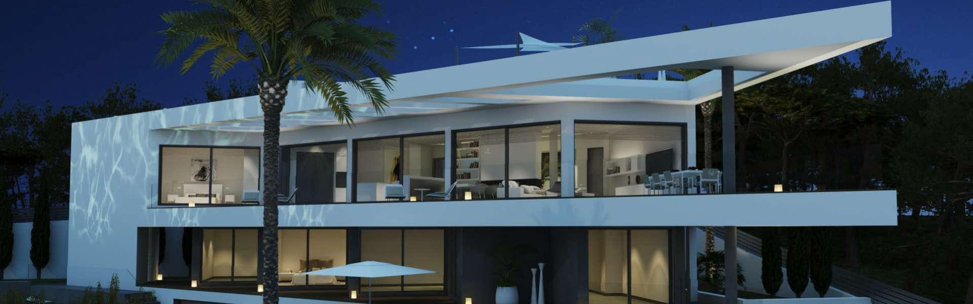 Extravagante Designervilla mit Meerblick in Konstruktion - Santa Ponca